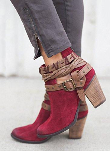 Hebilla Elegante Tacn Rojo Altos Mujer Invierno Moda Casual Botas Boots Minetom Oto Ankle O Tacones Calentar Ancho Botines 1zWwqY