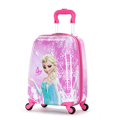 MOREFUN Frozen 18 Inch Luggage Hard Side Spinner Suitcase Carry on Luggage Rolling Pink 01