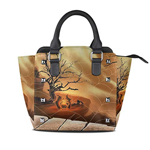 LORVIES Women Halloween Spirit Spider Web PU Leather