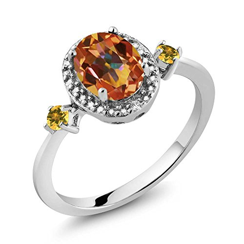 Gem Stone King Oval Mystic Topaz Simulated Citrine 925 Sterling Silver Ring With Accent ()