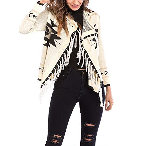 ZFFde Invierno Geometría de impresión de punto cardigan chaqueta borlas de manga larga para mujer Causal Coat (Color : Apricot, tamaño : L)