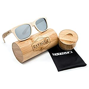 SAVAGE original bamboo wayfarer polarized sunglasses - handmade! (Natural Engraved Bamboo, Sliver Mirror Lens)