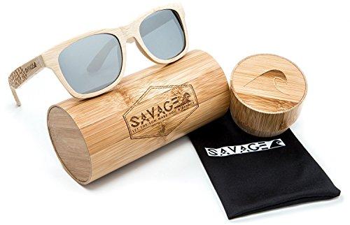 SAVAGE original bamboo wayfarer polarized sunglasses - handmade! (Natural Engraved Bamboo, Sliver Mirror - Fishing Wholesale Sunglasses Polarized