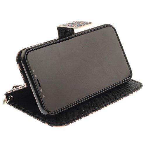 Vandot PU Funda Flip Case para iPhone X / iPhone10 Caso de Cuero con la Función del Soporte Pintado Cubierta Caja Protectora de la Teléfono para móvil iPhone X / iPhone 10 5.8 + 1x Metal Stylus Pen + GSCHPT 05