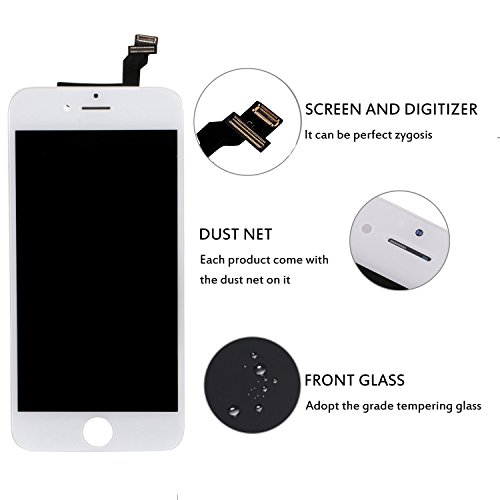 iPhone 6 Screen Replacement White, Giorefix 4.7 Inch LCD Display Touch Screen Digitizer Frame Assembly with Full Set Repair Tools Screen Protector for iPhone 6 Display White by Giorefix (Image #3)