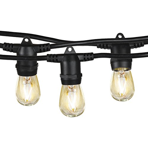 Brightech Ambience Pro - Waterproof LED Outdoor String Lights - Hanging 2W Vintage Edison Bulbs - 48 Ft Commercial Grade Patio Lights Creates Cafe Ambience in Your Backyard