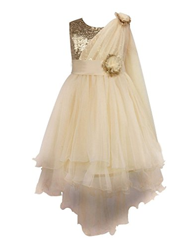 Colorful House Girls' Sequined Trailing Flower Formal Wedding Party Dress Gold, 2T (Size (Gold Fancy Dress)