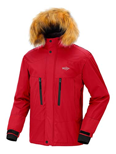 Wantdo Men's Mountain Ski Jacket Short Parka Winter Anorak Daily Wear Red S