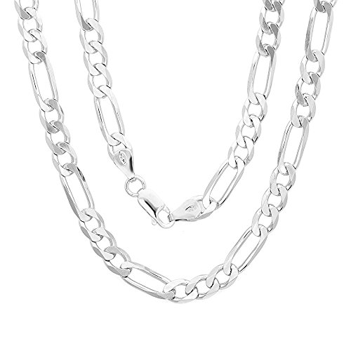Link Necklace Figaro Women (.925 Sterling Silver Italian 6mm Figaro Link Solid Necklace Chain 18