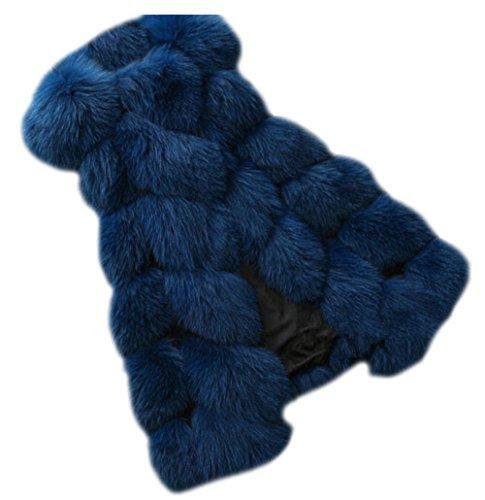 Coat Sans Marine Pour Long Gilet Fourrure Manteau Fausse Blue Femme Vest En Manches twxg1U