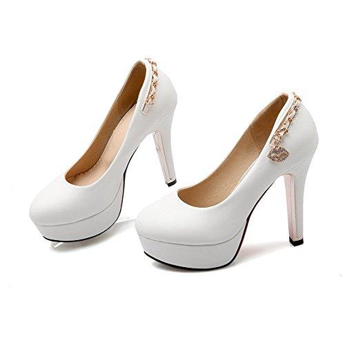 VogueZone009 Damen Rein Weiches Material Hoher Absatz Ziehen auf Pumps Schuhe, Weiß, 39