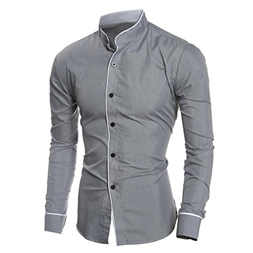 (Men Dress Shirts Daoroka Cotton Casual Long Sleeve Work Wear Button Collar Blouse Slim Fit Fashion Comfort Business Tops T Shirt (M, Gray))