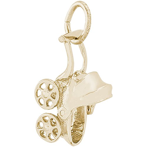 14k Gold Carriage - Rembrandt Charms 14K Yellow Gold 3-D Movable Top Baby Carriage Charm on a Rope Chain Necklace, 18