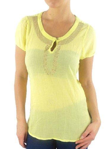 Vero Moda Camiseta Top Parte Superior Blusa Lily bordado manga corta botón amarillo