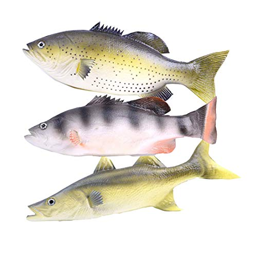 Enxee 3pcs Simulated Fish Model, Lifelike Pretend Play Fish Set for Kitchen Decoration Home Decoration Store Party Display Kids Teaching Learning Toy Tools Photography Props -