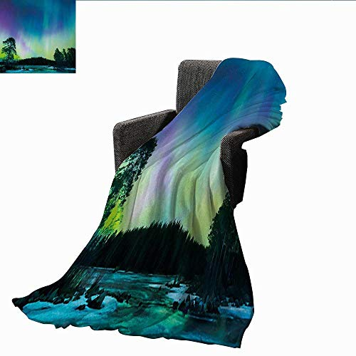 Weighted Blanket for Kids,Northern Lights,Sky Over Lake Surrounded Forest Woods Hemisphere Print,Violet Blue Lime Green Purple,Weighted Blanket for Adults Kids, Better Deeper Sleep 70