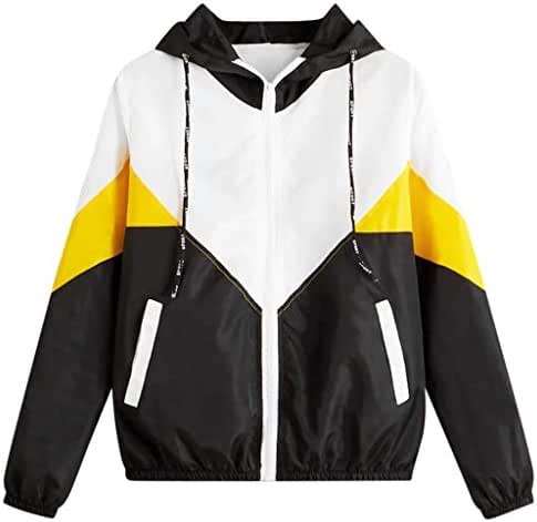 NOMUSING Sweatshirt for Women with Zipper Hood and Pocket Long Sleeve Patchwork Thin Skinsuits Hooded Casual Sport Coat