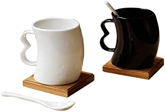 Mom Italy Black and White 2 Cups with Spoons and Coasters