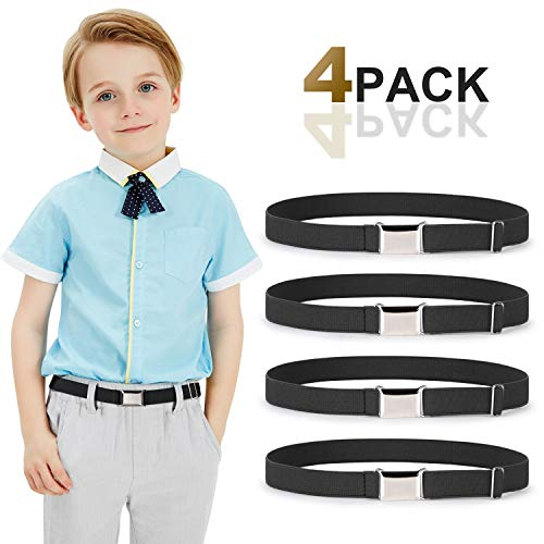 Kids Toddler Belt Elastic Stretch Adjustable Belt For Boys and Girls with Silver Square Buckle 4 Pack By JASGOOD (I-black, Suit for pants size below 26'')