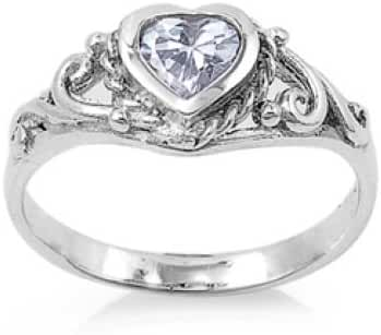 Heart Baby Ring with Cubic Zirconia Sterling Silver 925 Rhodium Plated Jewelry Aquamarine