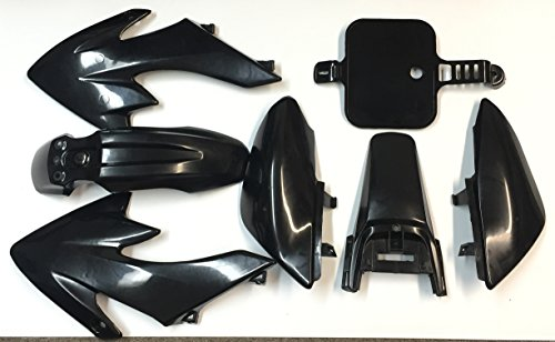 HTT Group Motorctcly Black Plastic Fender Kit Body Work Fairing Kit For Honda CRF XR XR50 CRF50 Clone 125CC Pit Dirt Bike (Fairing Body Plastic)