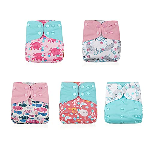 Pocket Cloth Diapers One Size by LUA Earth & Baby Care   Washable, Waterproof, Reusable, Adjustable   Fits Babies 8 to 35 Pounds   5 Cloth Pocket Diapers   5 Microfiber Inserts (Pink Ocean)