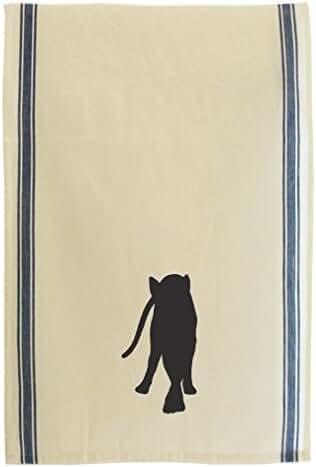 Cornish Rex Cat Silhouette Cotton Retro Stripe Dish Kitchen Towel Blue Stripe