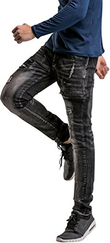 Mjd004 Skinny Slim Jeans Personalita Disegno Lavaggio Stile Pants in black Fit Casuale MJD001 Pantaloni Uomo Elasticita Denim X7ZF7qw