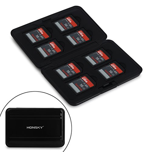 Honsky Aluminum UHS-I SD Micro SD SDHC SDXC TF SecureDigital Memory Card Carrying Case Holder Organizer Box Keeper for Computer Camera Media Storage Organization, Black