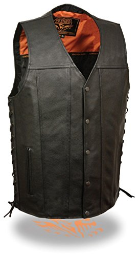 Men's MOTORCYCLESINGLE Panel Soft With 2 Gun Pockets & Side Lace Leather Vest(Regular 6XL)