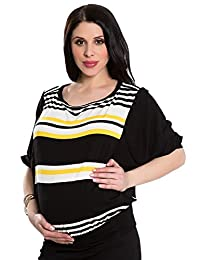 OLIAN Maternity Women's Yellow Stripe Elbow Sleeve Tunic Top XS/S Black