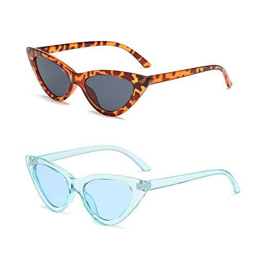YOSHYA Retro Vintage Narrow Cat Eye Sunglasses for Women Clout Goggles Plastic Frame (Leoaprd Grey + Clear ()
