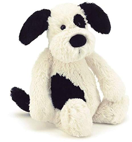 Jellycat Bashful Black and Cream Puppy Stuffed Animal, Medium, 12 inches ()