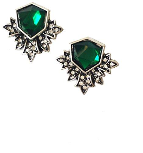 Art Deco Antique Vintage Style Green Emerald Rhinestone Earrings