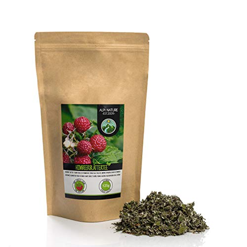 Te de hojas de frambuesa (125g), hojas de frambuesa cortadas, suavemente secadas, 100% puras y naturales para la preparacion de te, te de hierbas