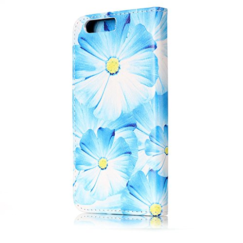 Funda Huawei P10, Carcasa Huawei P10, JAWSEU Huawei Ascend P10 Estuche Carcasa Diseño de Libro de Cuero Billetera Impresión PU Premium y TPU Silicona Case pare Huawei Ascend P10 Protective Parachoques Flor Azul