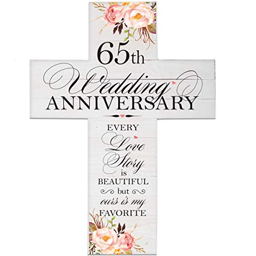 LifeSong Milestones Floral 65th Anniversary Pallet Cross 65 Years of Marriage - Sixty-Five Year Wedding Keepsake Gift for Parents Husband Wife him her Boyfriend Girlfriend- 14x19 ()