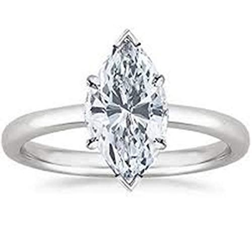 - Gia Certified 0.30 Carat Natural Marquise Diamond 14K White Gold