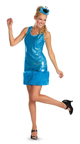 Disguise Sesame Street Cookie Monster Glam Deluxe Womens Adult Costume, Blue, Small/4-6