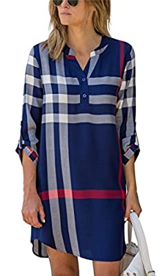 ETCYY Women's Casual 3/4 Sleeve Plaid Tunic Shirt Blouse Mini Dress
