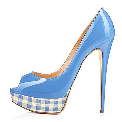 Scarpe Blu Griglia con Peep Donna Scarpe Scarpe col da Scarpe Plateau Tacco Toe Y7xzEn