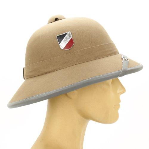 German WWII Afrikakorps Sun Helmet with Metal Badge (Pith Helmet)