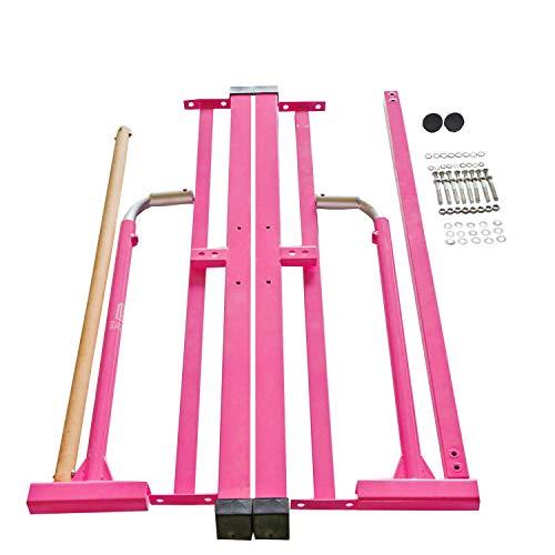 Modern-Depo Adjustable Junior Kip Bar 3'- 5' Gymnastics Horizontal Bar for Kids Home Training, Beech Wood Crossbar, Pink by Modern-Depo (Image #6)