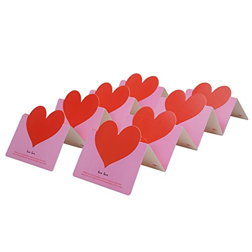 Red Heart Card (Tenn Well 50 PCS Love Greeting Cards with Foldable Red Heart for Christmas Thanksgiving Anniversary Valentine's Day)