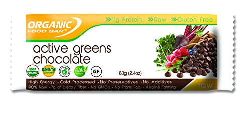 Organic Food Bar - Active Greens Chocolate Bars, USDA Organic Active Greens Bar with Superfood Blend with Powerful Antioxidants (Pack of 12, 2.3 oz)