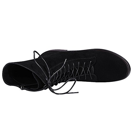 rismart Women's Mid Calf Lace up Zip Winter Casual Leather Chukka Boots Black NSrVaA0