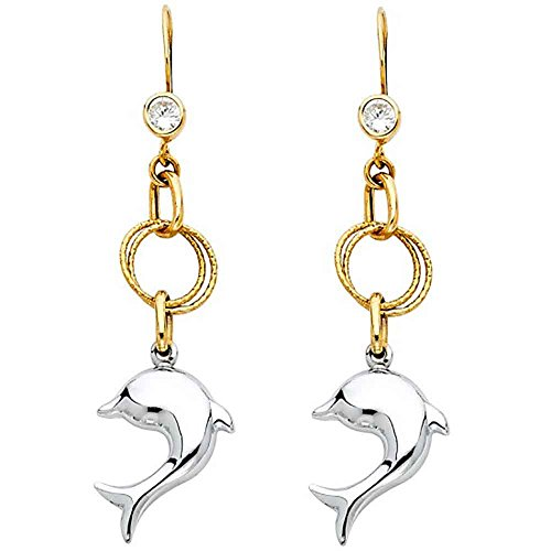 - Women's 14k Two Tone Gold Hollow Dangling Dolphin Earrings (1.96 in x 0.47 in)