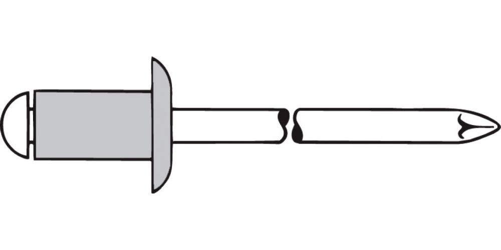 Gesipa 0//2900//000//3,2//10// //01 Blindniete Alu//Stahl Standard Grau, 500 St/ück 3,2 x 10 Flachkopf
