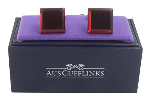AUSCUFFLINKS Ruby Anniversary Wedding Cufflinks | Bevelled Edge Red Cuff Links Men | Inc Cufflinks Box by AUSCUFFLINKS (Image #3)