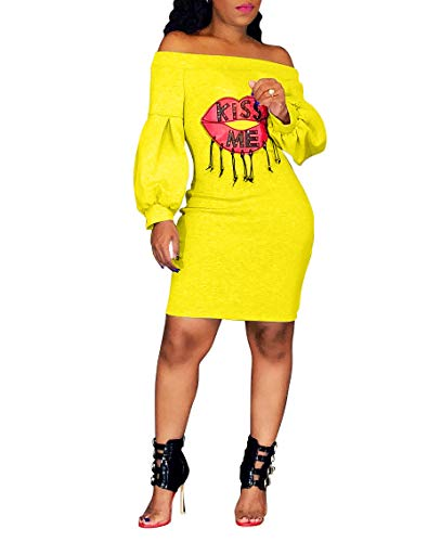 Ophestin Women Sexy Off The Shoulder Lip Letters Printed Puff Long Sleeve Bodycon Midi Long Dress Yellow ()